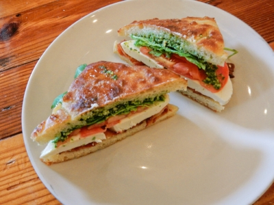 A caprese-inspired sandwich on focaccia (PC: Mika Deshmukh)