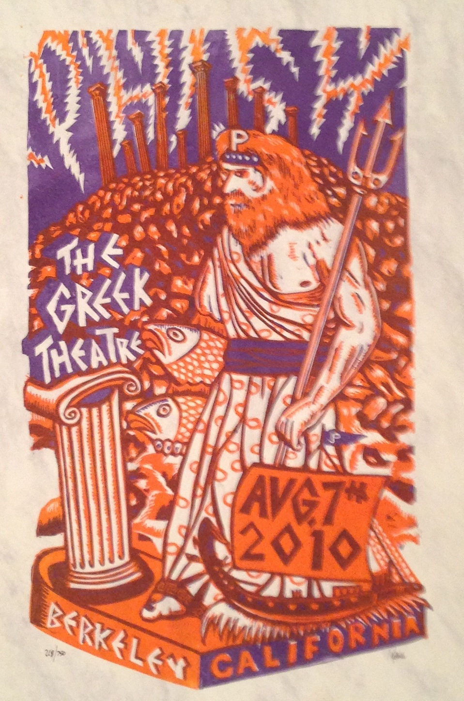 JIM POLLOCK  |  Phish - Greek Theatre   Linoleum Relief | Edition of 750 | 14 x 21 | Signed and Numbered