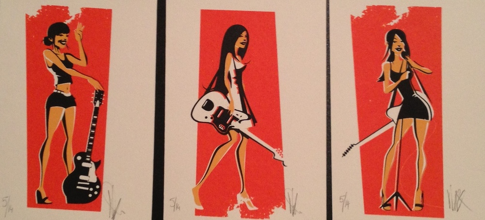 NEAL MCCULLOUGH  |  Guitar Girls   Silkscreen | Edition of 14 | 3.5 x 5 | Signed and Numbered