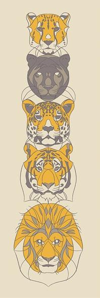 RAFA JENN | Feline Totem   Silkscreen | Edition: 36 | 12 x 36 | Signed and Numbered