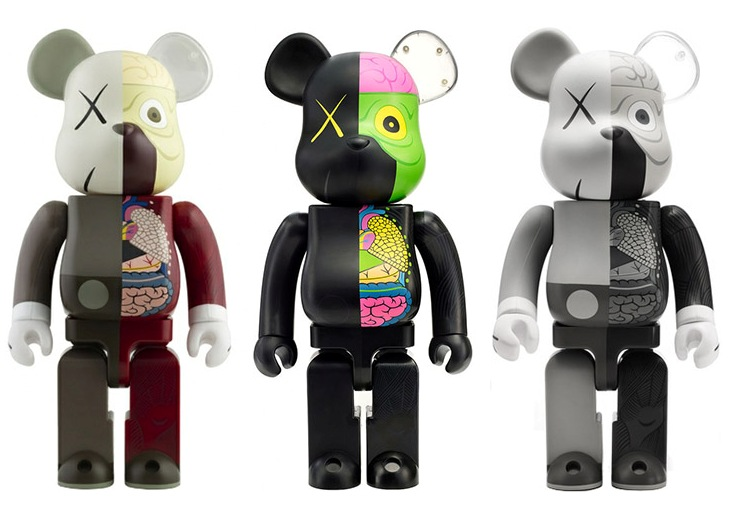 KAWS  |  Bearbrick 100/400 (reg.), Bearbrick 100/400 (black.), Bearbrick 100/400 (mono.)    Molded Plastic | Edition: 1000