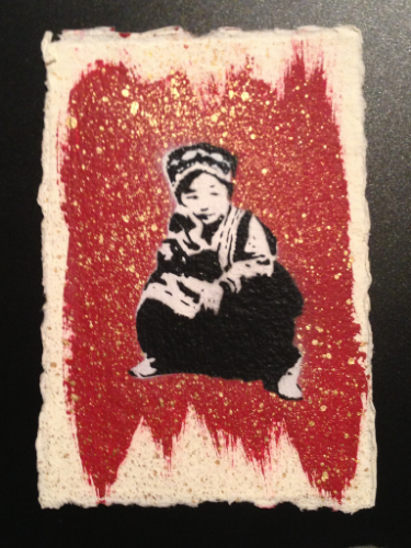 GRAFER  |  Tibetan Boy   Acrylic and spray paint | 6 x 8.5 | Signed