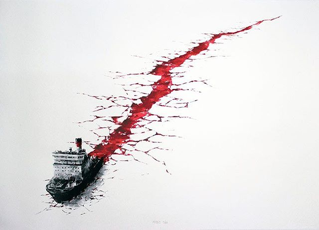 'Wound' by @pejac_art  A very timely and thought provoking message on our #environment #globalwarming #pejac #art #screenprint