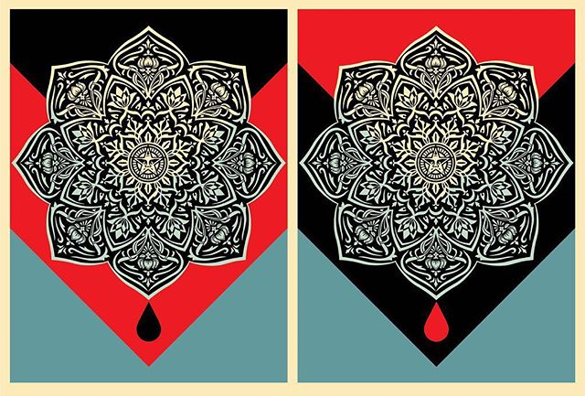 Shepard Fairey - Blood & Oil Mandala. @obeygiant #shepardfairey #streetart #graffiti #obey #obeygiant #art