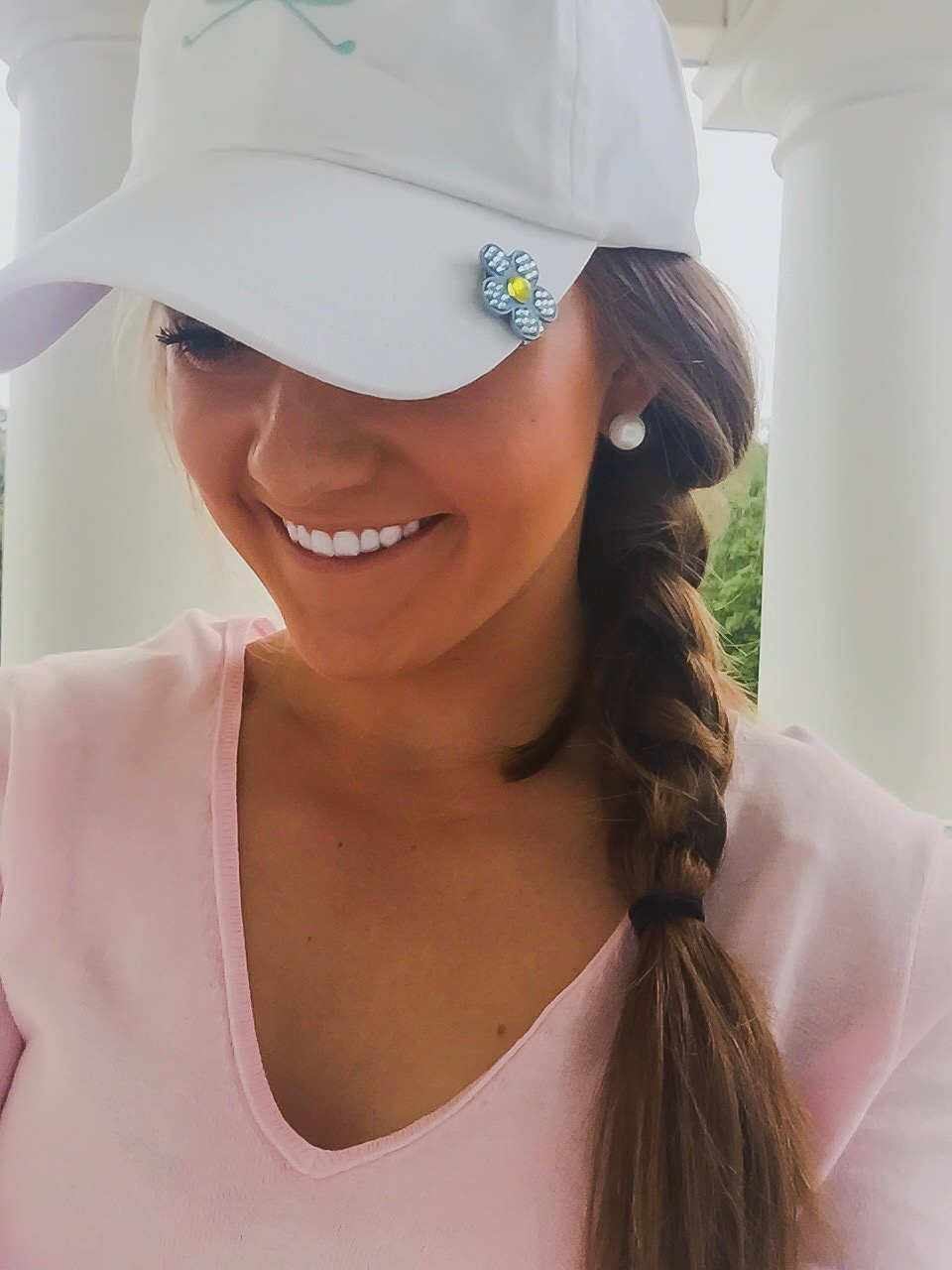 "BonJoc ""Sky"" hat clip paired with White/Teal Logo Hat!"