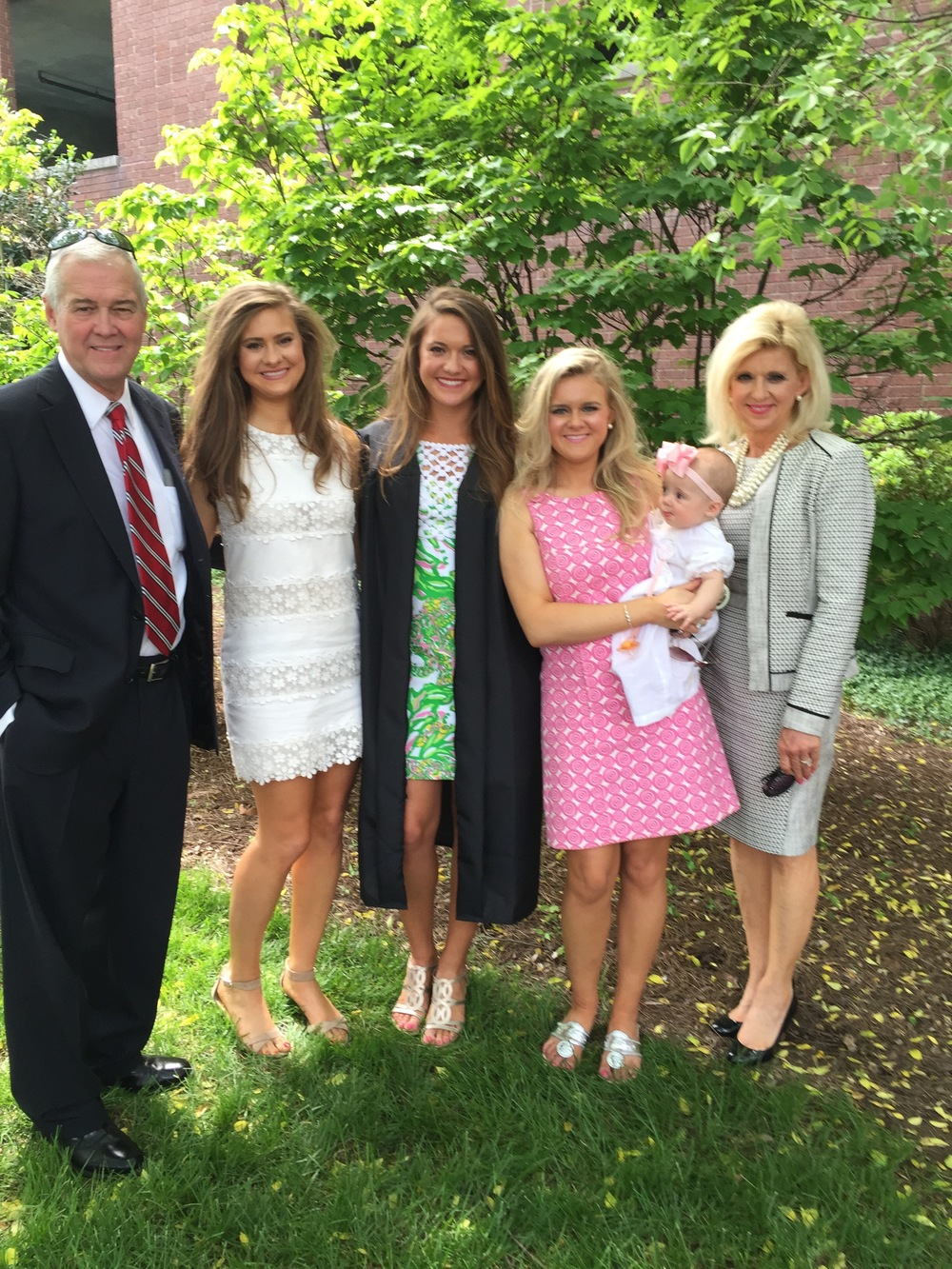 Graduation Day! One of the biggest accomplishments in my life was graduating from Belmont University with a bachelors in Business Management surrounded by my family! Left to right: Dad, Abby, Me, Jordan, Claire Elizabeth, and Mom.
