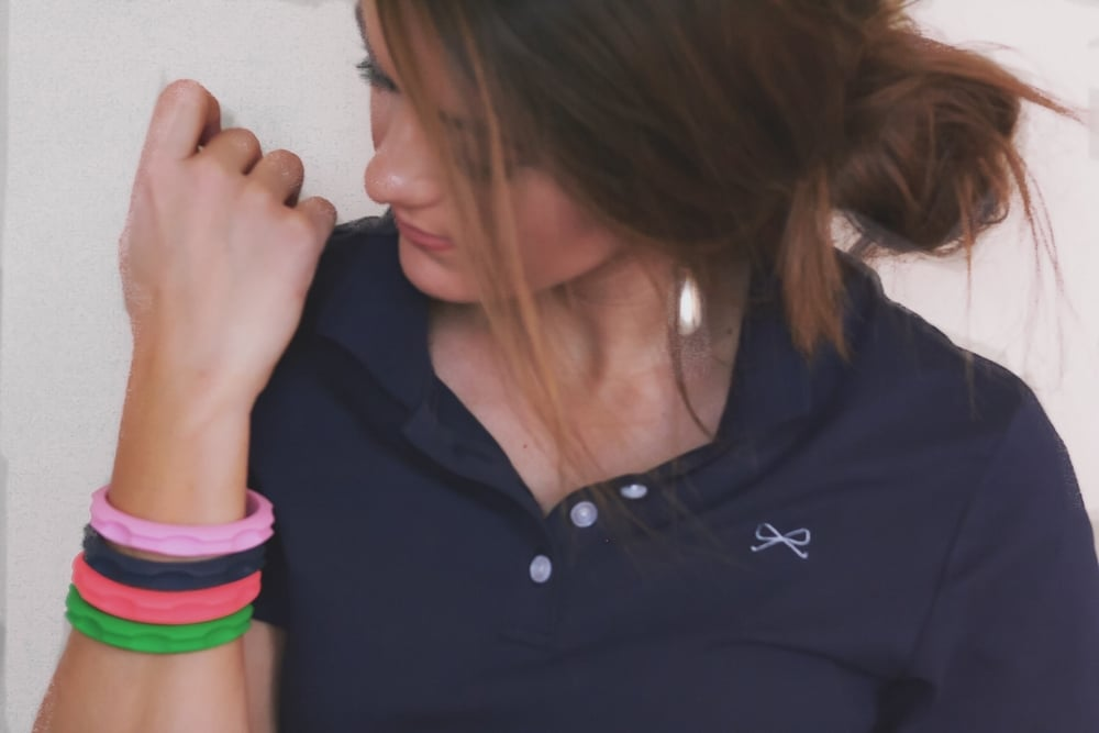 Here I have on Peony Pink, Nay & Kelly Green, and Neon Coral. I loved how it looked with my all navy look! Yes...this is a spoiler of our new polo line coming this spring :)
