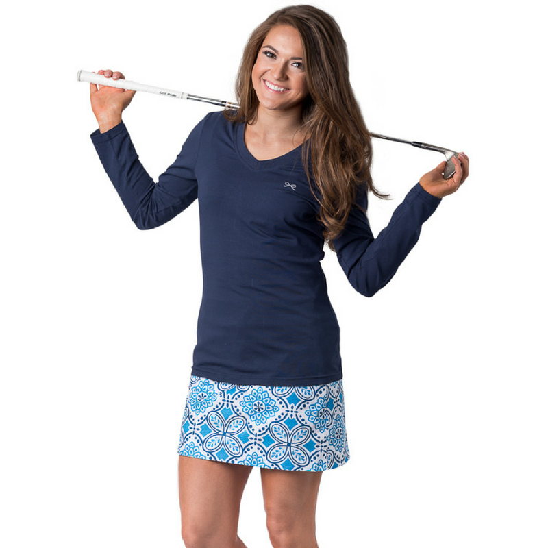 Pictured: Maddie Long Sleeve Top in Navy, and the Paige Skort in Standard Length!