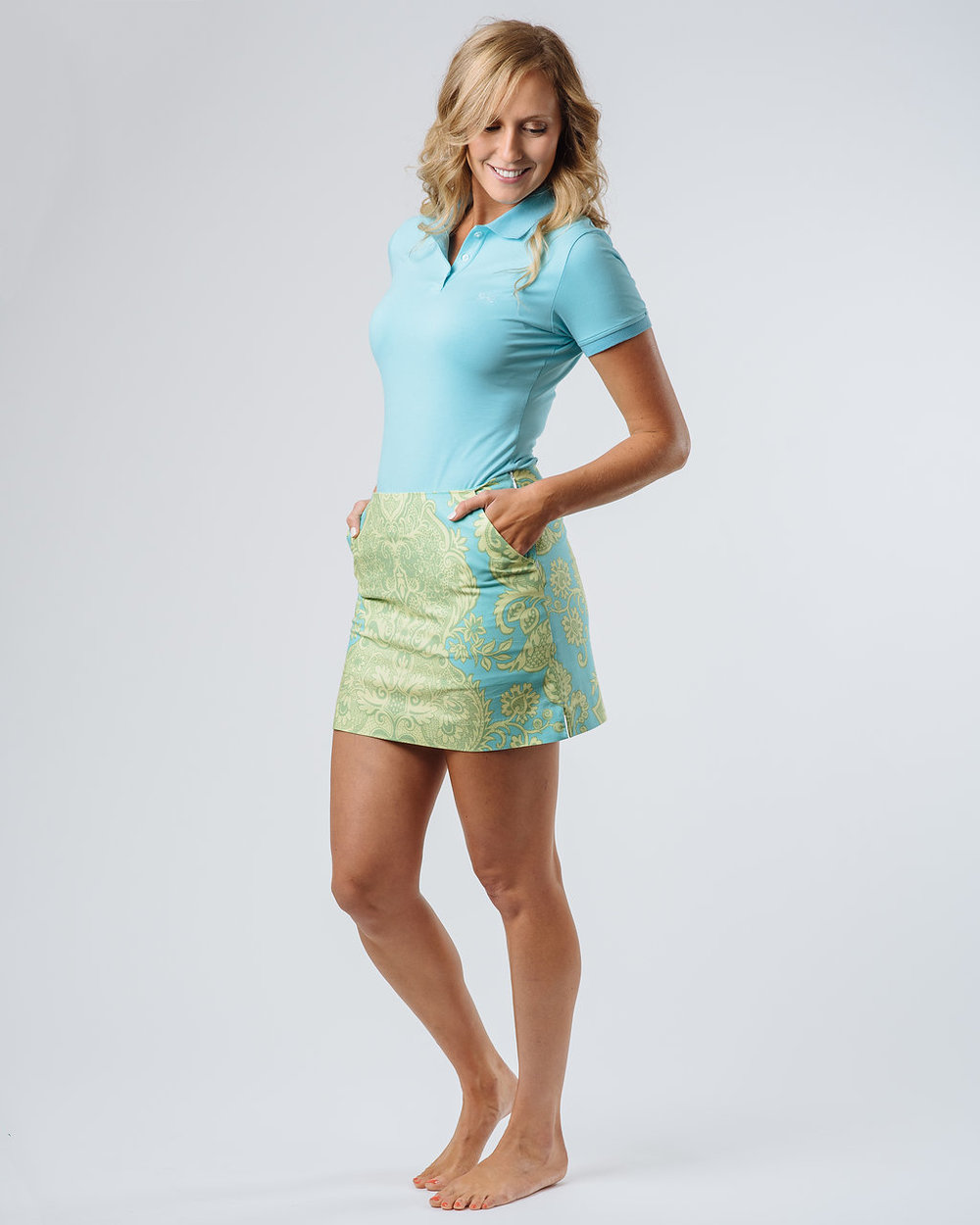 The Darcy Skort with the Lexi Short Sleeve Polo in Sky Blue.