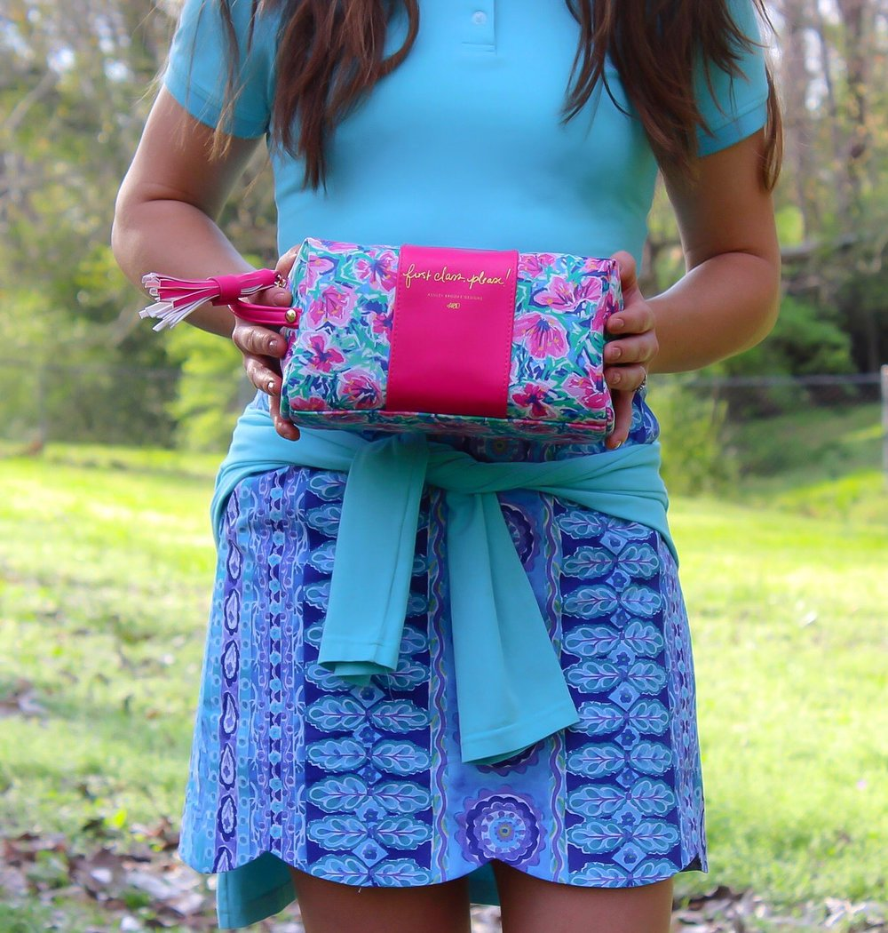 ABD First Class Makeup Bag, Addison Skort, Lexi Polo in Sky Blue, Skylar Popover in Sky Blue