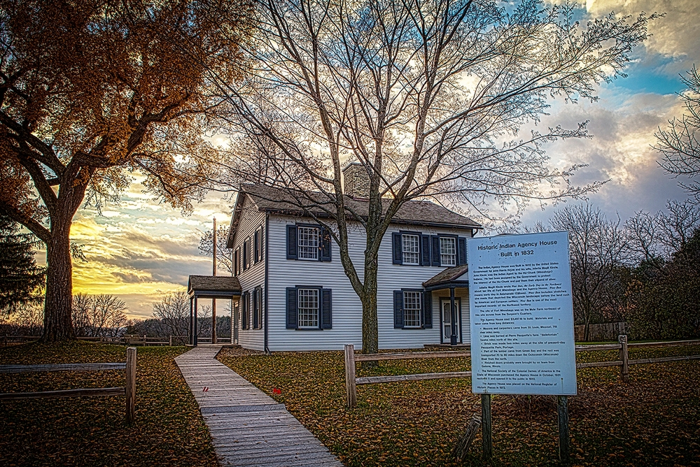 The Historic Indian Agency House was built in 1833, purchased and restored by the National Society of Colonial Dames of the State of Wisconsin in 1933.  It operates as a museum and historical site today.   Photo by Della Nohl