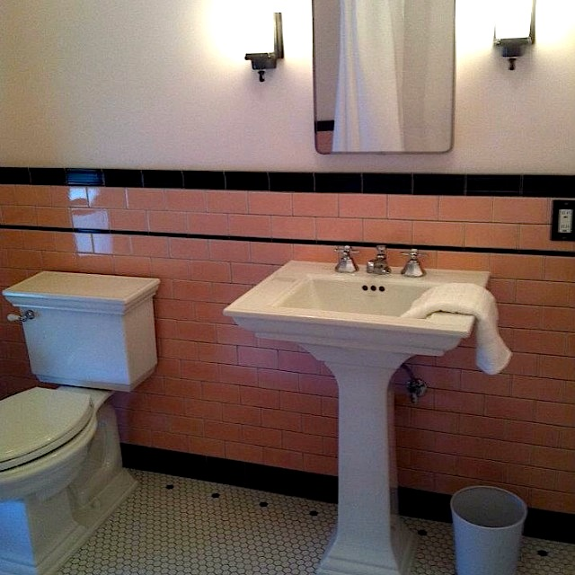 Custom Made Pink Ceramic Subway Tile, Black Chair Rail, Liner And Base Cove