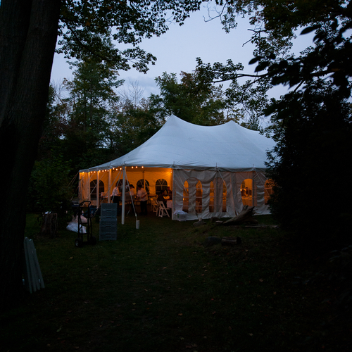 The reception tent at night