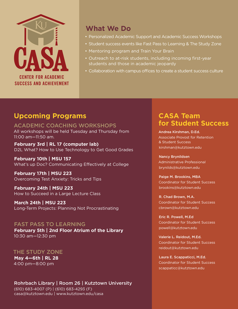 Kutztown University CASA Information Sheet