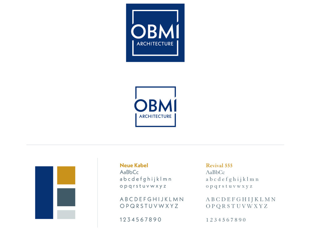 """OBMI's refreshed logo and modern elements of crisp, bold lines, paired with the firms classic styling of a vibrant blue box, expresses the firm's focus on innovation, creativity, and design excellence. ""  -Express Newspaper"