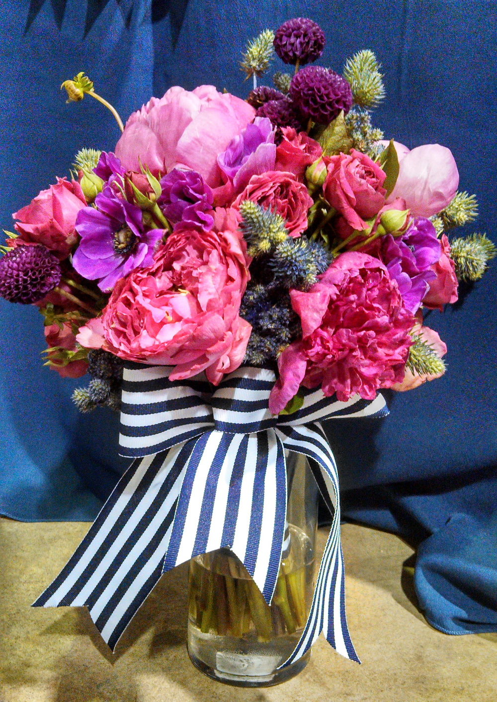 Navy Blue And Pink Ebb Flow Flowers