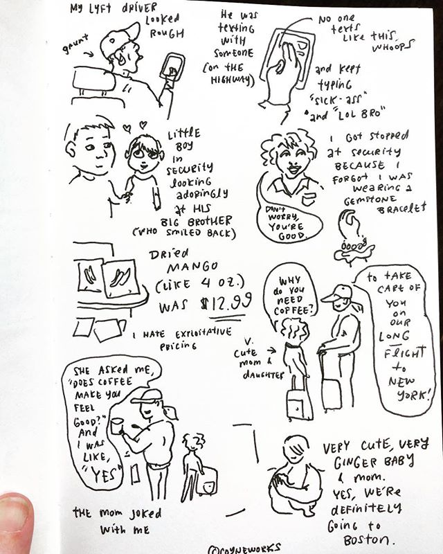 Ten-minute airport comic! I'm going to Boston to see my brother-in-law run the Marathon Monday and then I'll be sticking around Cambridge for a few weeks 🌞  #losangeles #airport #comic #comics #sketch