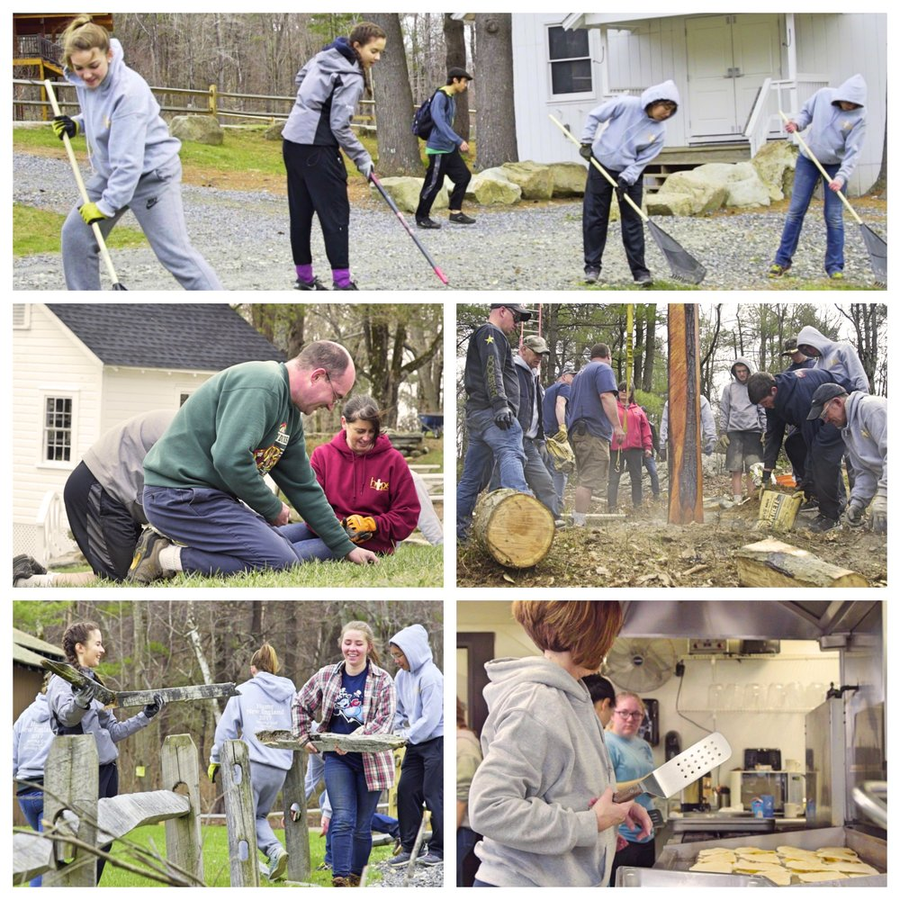Volunteers serving Hume New England in a variety of ways.