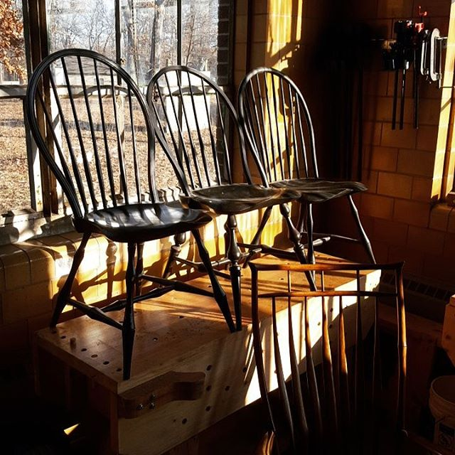 Beautiful light this morning. Three different side chair designs lined up side by side. #windsorchair #woodworking #dowoodworking #woodshop #art #puremichigan #instagramthetelegram #dowoodworking