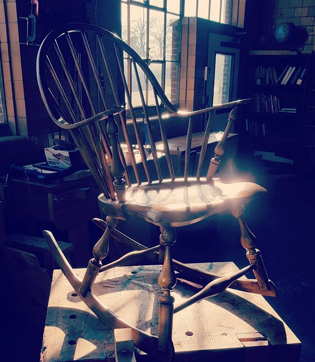 Countinuous arm rocker in mustard with a dark glaze #woodworking #woodshop #puremichigan #furnituremaker #windsorchair #instagramthetelegram #woodturning