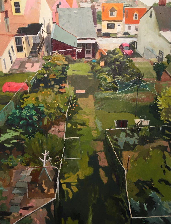 """writer's garden       2017             16"""" x 20""""       oil/panel"""