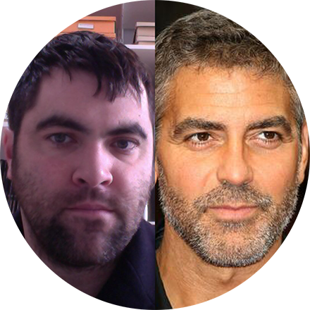"On the left:  Me  On the right:  George Clooney  The skinny:   Maybe I don't have a famous Aunt whose closet floor I can sleep on, but I like to think I have talent. Apparently, NBC studio execs didn't think I had much of that ""It"" factor. At least, not as much as this joker: George Clooney. And, just to think...all I needed was a season or two on ER and my career would have fell before me like palms before a Dutchess."