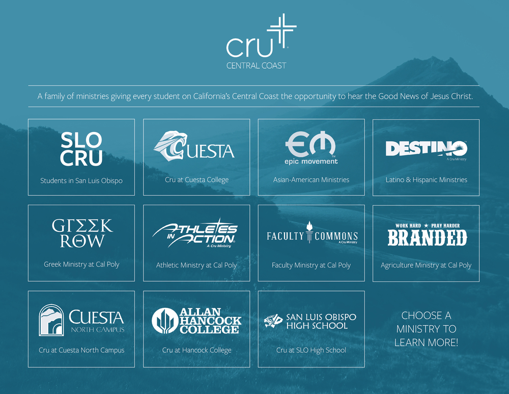 Landing page for the Cru Central Coast family