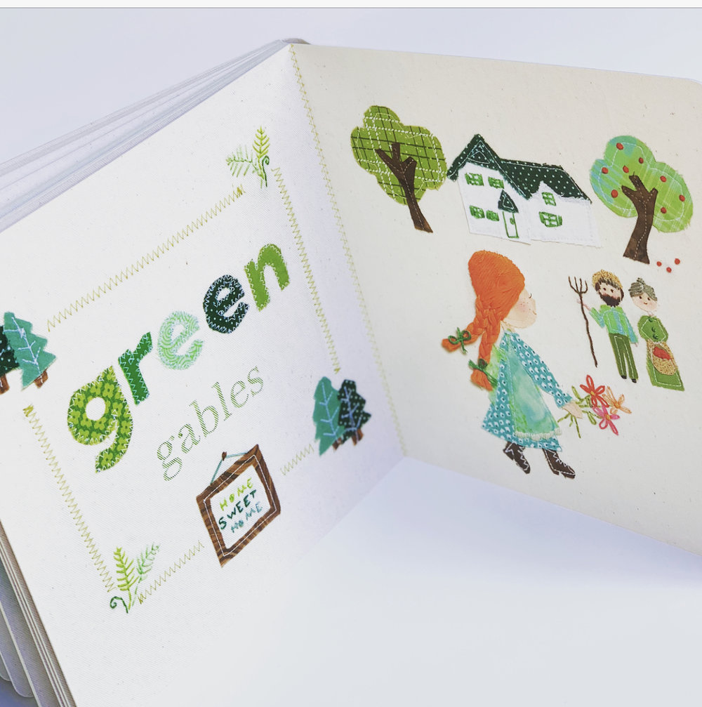 The color green is represented by a sweet rendition of Green Gables.