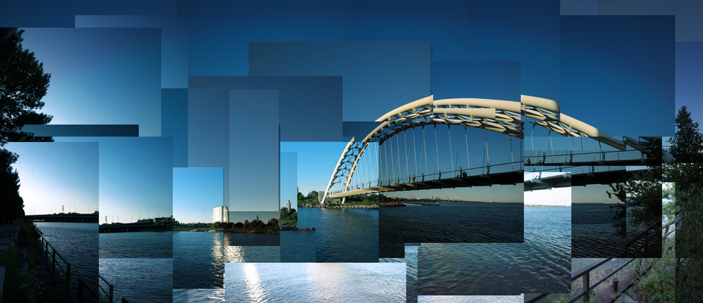 mosaic of pedestrian bridge at lake ontario