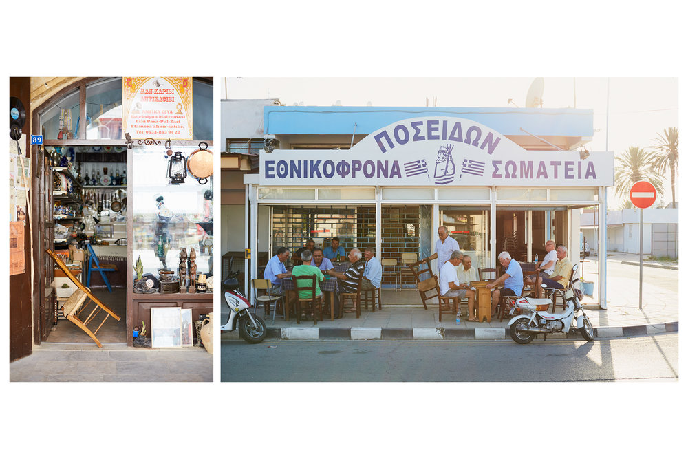 Left: shop closed during siesta time. Right: locals emerge after a good afternoon rest