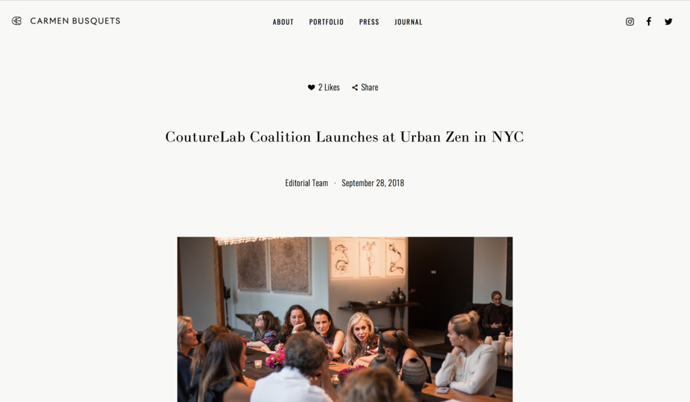 - CoutureLab Coalition Launches at Urban Zen in NYC(Carmen Busquets)https://www.carmenbusquets.com/journal/post/couturelab-coalition-launches-at-urban-zen-in-nyc