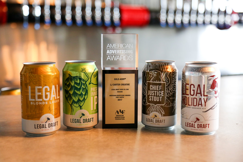 Won a Gold ADDY at the Fort Worth American Advertising Awards for can packaging series