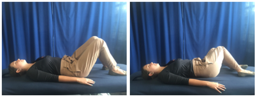 With your feet flat on the ground/bed, gently rotate your knee's to the side as far as you can comfortably go and hold for a couple of seconds. Gently rotate back the other way. 3 sets of 10-15 repetitions