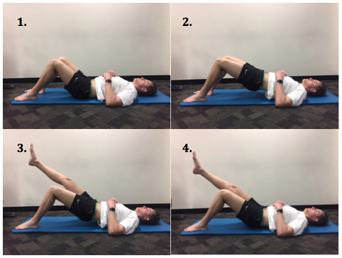 1. Set your feet and knees shoulder width apart 2. Lift your bottom up 3. Raise your unaffected leg while keeping your bottom up 4. Slowly lower yourself back down controlling with the affected leg