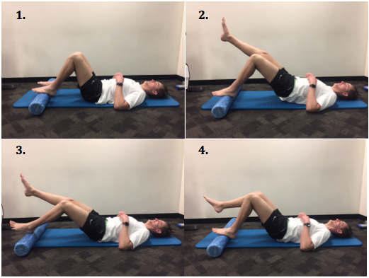 1. Start with feet and knees shoulder width apart on roller 2. Lift bottom up off floor using just your affected leg 3. Slowly roll the foam roller away 4. Slowly roll the foam roller back to it's starting position and lower your bottom