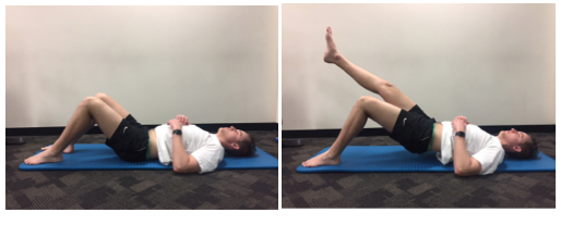 1. Lift your unaffected leg off the floor 2. Use your affected leg to push down through your foot and lift your bottom up off the floor 3. Hold this position for 30-45 seconds if you can 4. Generally your buttock / hamstring pain should improve as you continue to perform the isometric exercises