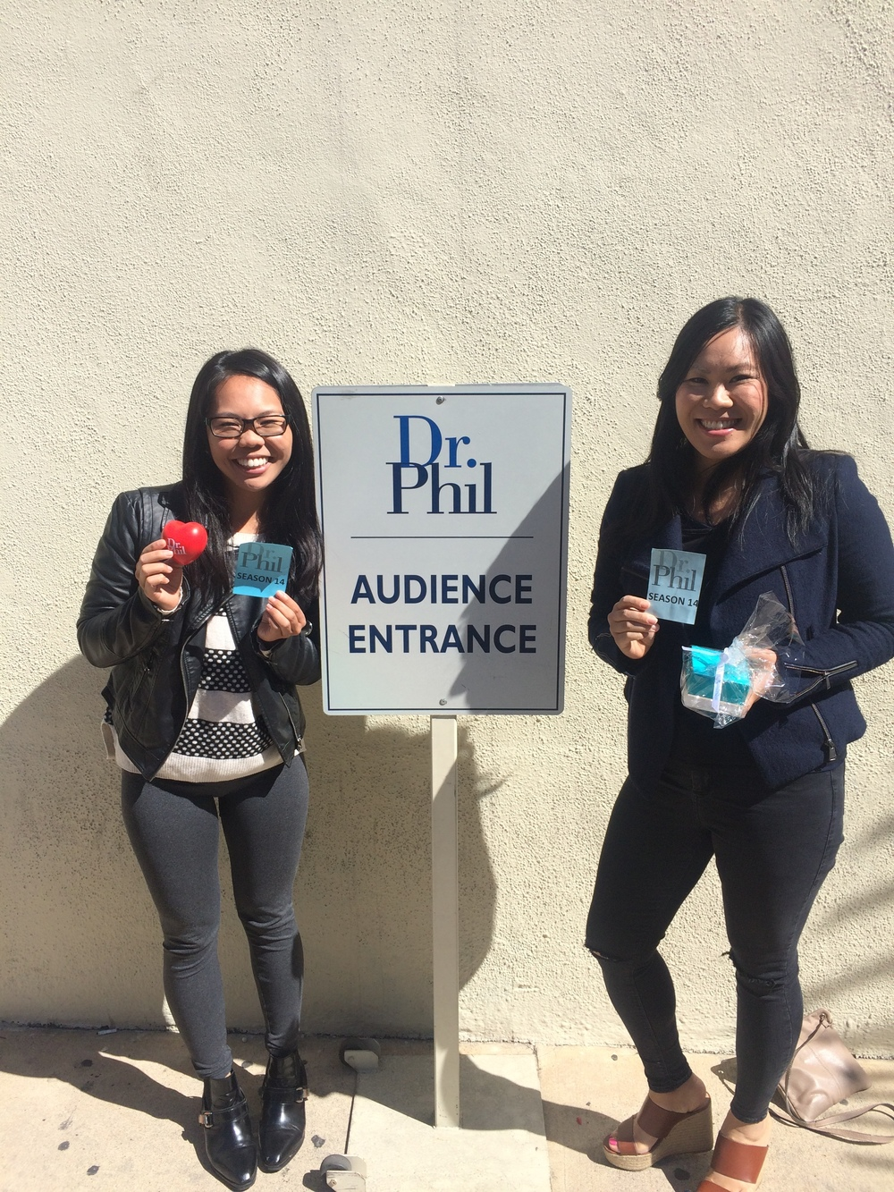 Yep, that's us holding our prized Dr Phil stress ball and anti-ageing jewel drops.