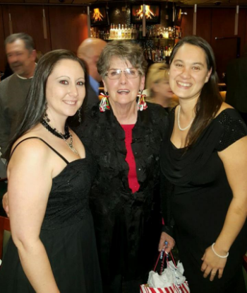 judy and her coworkers, sara Campbell & kaylene byrne, celebrate after her award acceptance.