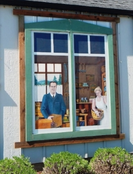 History Mural of Sequim Pioneers:     Dick Jarmuth & Shirley Larmore