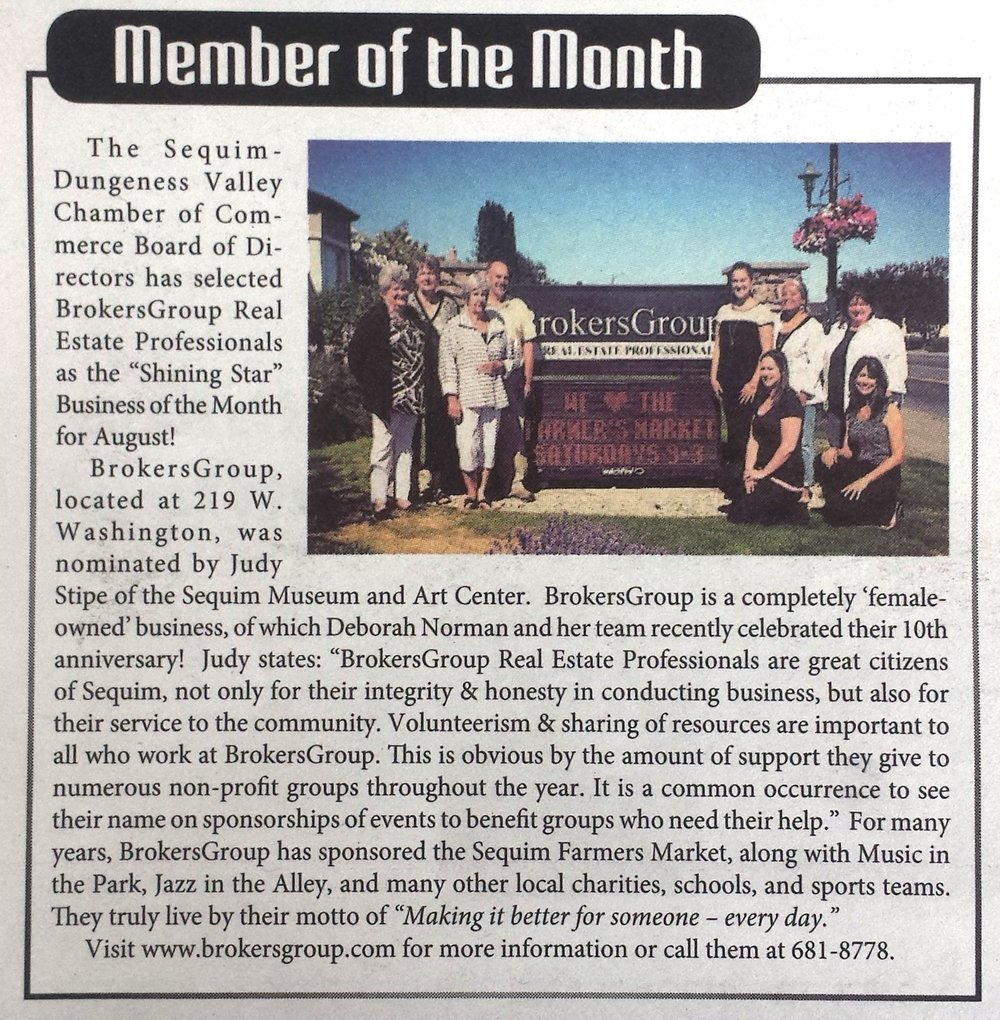 Member of the Month newspaper write up