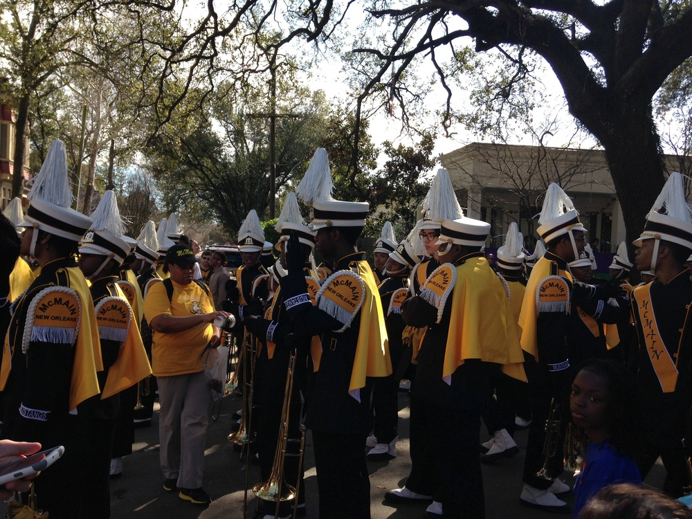 McMain High School Band, Mardi Gras parade on St. Charles Avenue