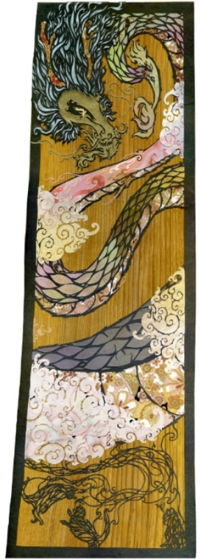 size: 8.5 x 23.8 inches (approx.) / 215 x 605 mm (depth 20 mm) medium: cut paper, washi and chiyogami on stained wood
