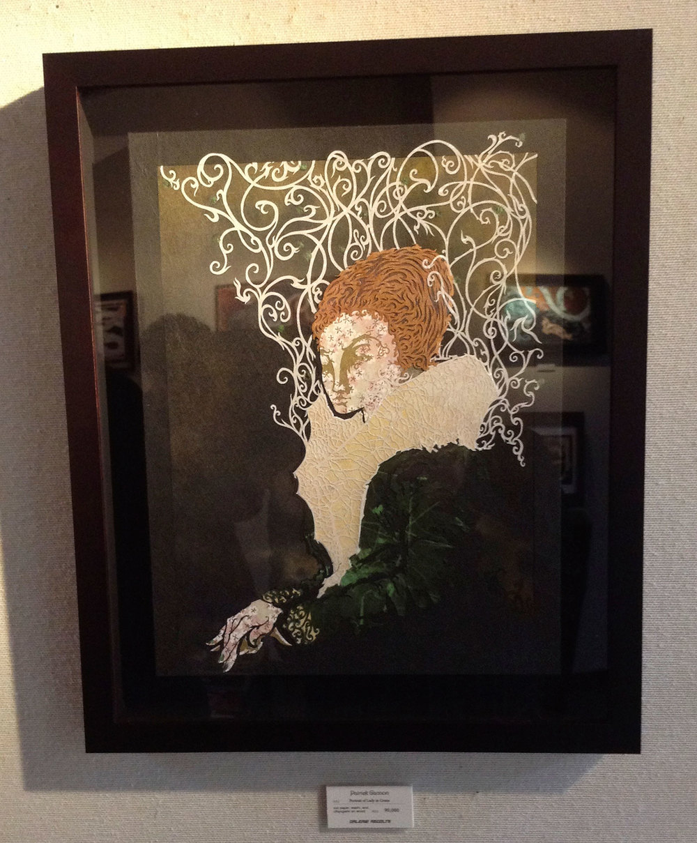 Portrait of Lady in Green, framed