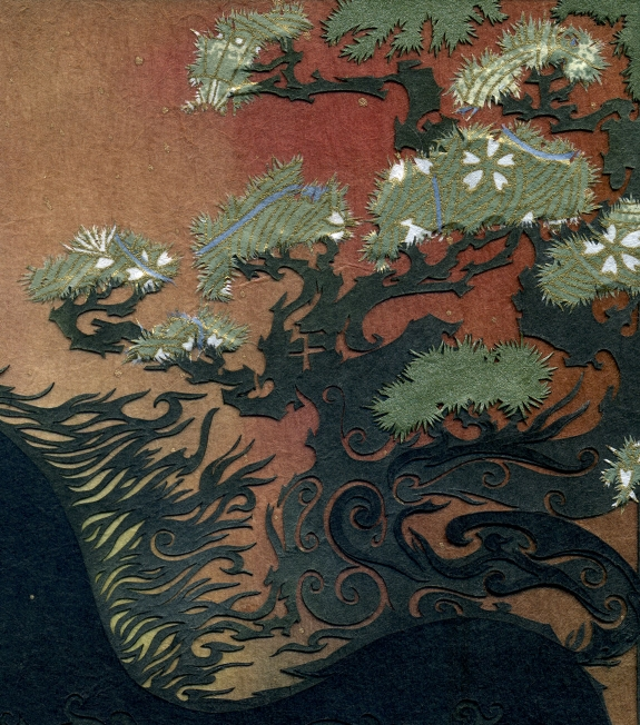 detail - the mane, the pines & a bit of horsey kanji [午]