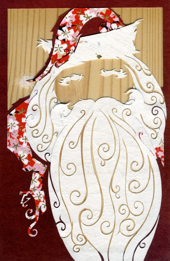 ⊛  A Right Jolly Old Elf (His Eyes—How They Twinkled!)   ⊛  cut + torn washi + chiyogami paper / wood   ⊛  150 x 100 mm • 6 x 4 in (approx.)