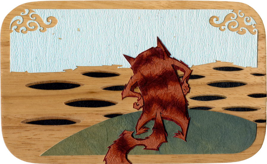⊛   A Void Discovery    ⊛  4.5 x 7.3 in • 113 x 185 mm ⊛  cut + torn paper + washi / wood