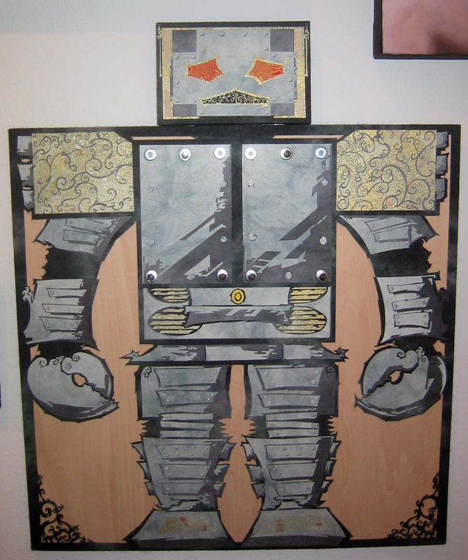 "Giant Beastie Robo Machine (and His Cosmic Friends)! medium:  cut paper + metal /wood size:  450 x 550 mm •  17 3/4 x 21 3/4"" approx."