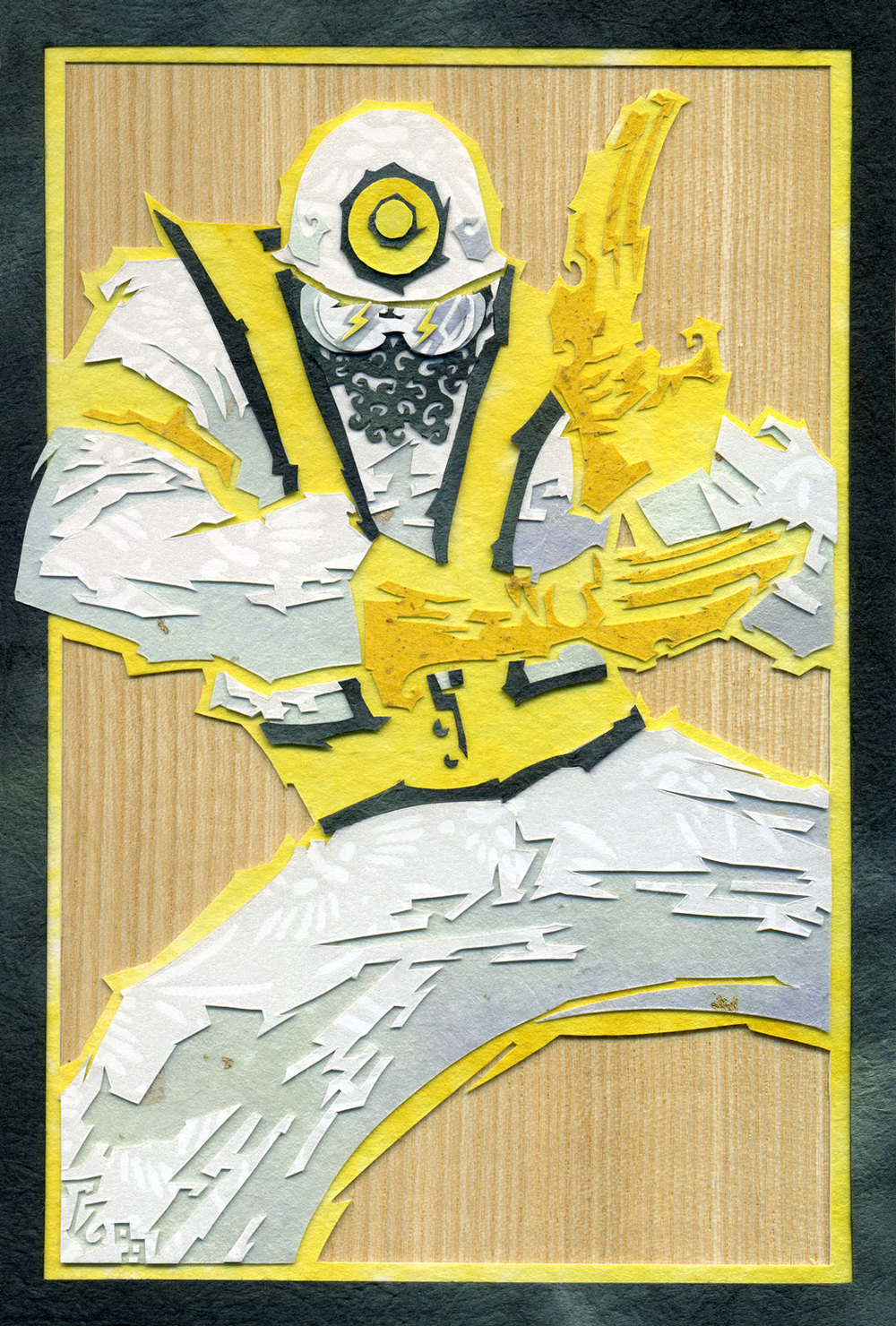 ⊛  Go Beastie Ranger!   ⊛  cut paper + washi + chiyogami / wood   ⊛  6 x 4 in • 150 x 100 mm