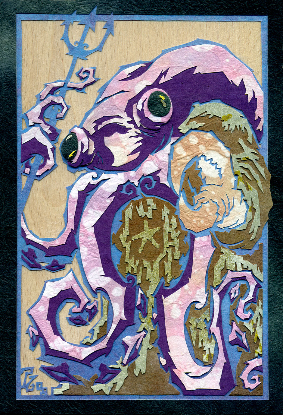 "Flailing Purple Tentacles of Beastie Destruction! medium:  cut paper on wood size:  100 x 150 mm •  4 x 6"" approx."