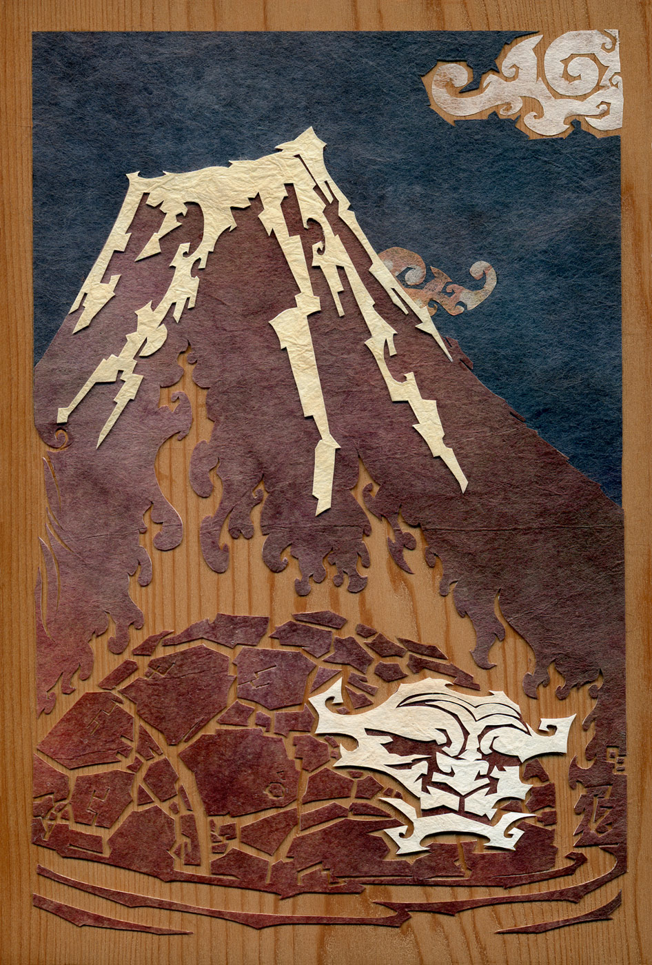 ⊛  He of the Flame   ⊛  cut paper + washi / wood   ⊛  6 x 4 in • 150  x 100 mm   ⊛  private collection